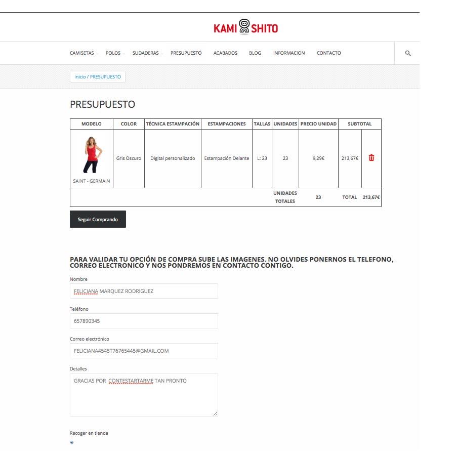 Nueva web shop con presupuestador online