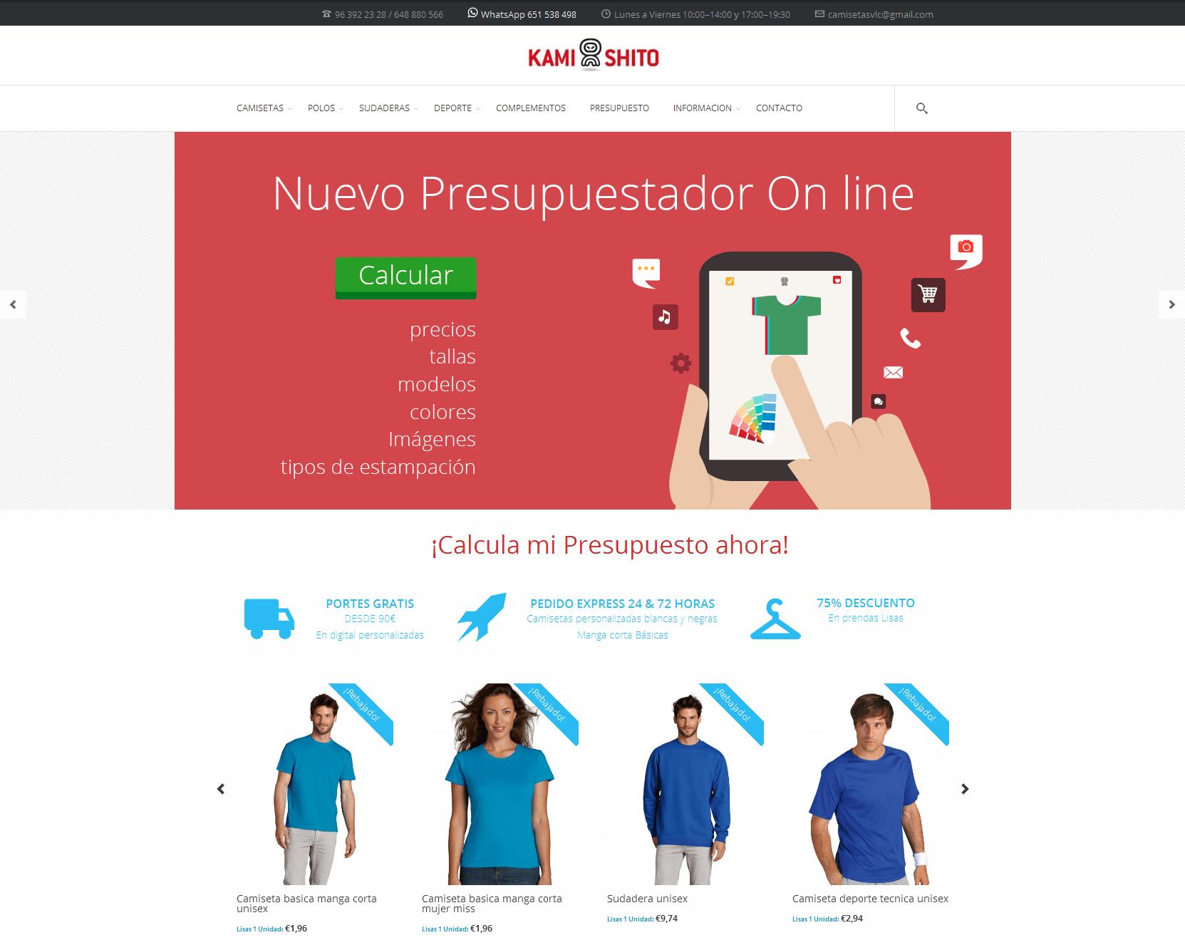 Nueva web shop con presupuestador