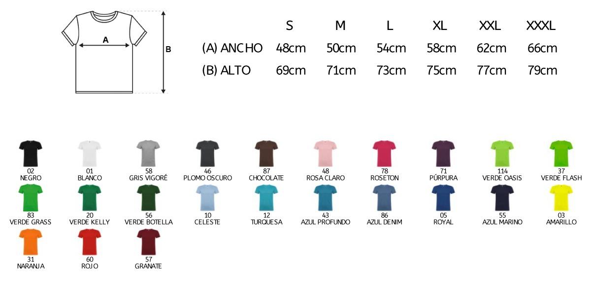 Tallas y colores de camisetas personalizadas para paellas