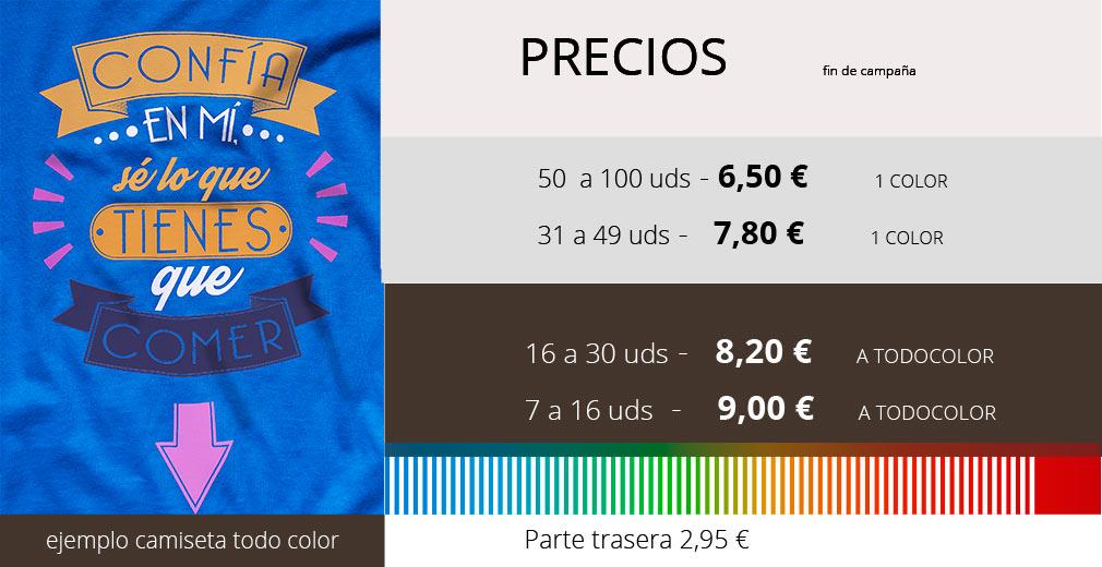 precios camiseta todo color